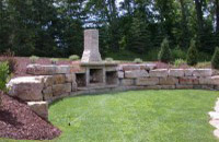 Backyard Stone Fireplace