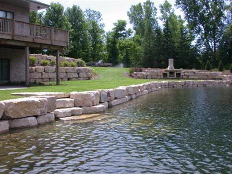 retaining wall near pond